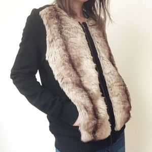 NWT Brown faux fur patch black knitting jacket